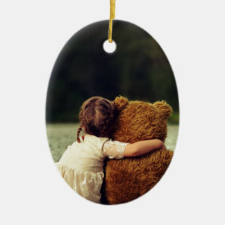 Best Friends A Little Girl and Her Teddy Bear Ceramic Ornament