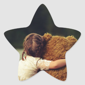 Best Friends A Little Girl and Her Teddy Bear Star Sticker