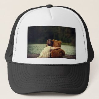 Best Friends A Little Girl and Her Teddy Bear Trucker Hat