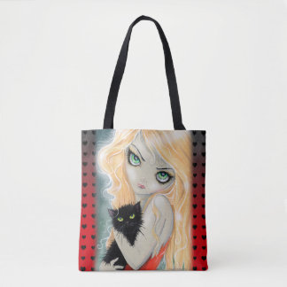 Best Friends Big Eye Girl and Black Kitty Art Tote Bag
