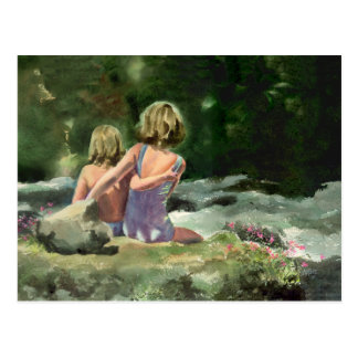 BEST FRIENDS by the CREEK by SHARON SHARPE Postcard