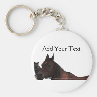Best Friends Cat and Horse Cuddle Up Basic Round Button Key Ring