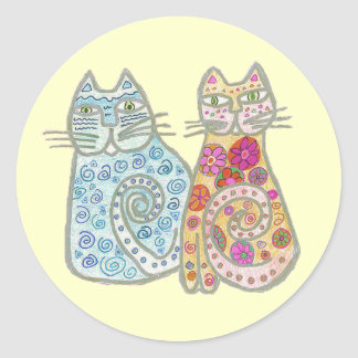 Best Friends Cat Design Round Sticker