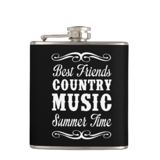 Best Friends, Country Music, Summer Time Hip Flask