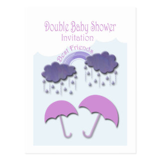 Best friends Double Baby Shower Invitation Cards Post Card