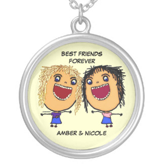 Best Friends For Life Cartoon Silver Plated Necklace