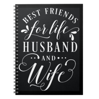 Best Friends for Life Husband and Wife Chalkboard Spiral Note Books