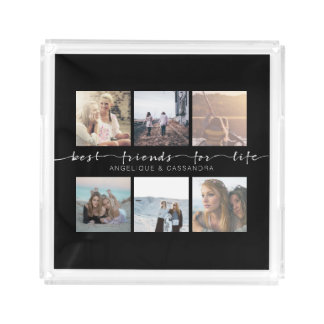 Best Friends for Life Instagram Photo Typography Acrylic Tray
