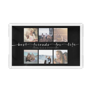 Best Friends for Life Typography Instagram Photo Acrylic Tray