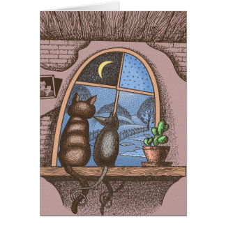 Best friends forever, cat and mouse, card