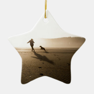 Best Friends Girl and Dog on Beach Ceramic Ornament
