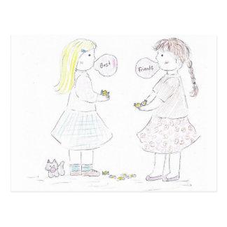 Best Friends Girls Postcard