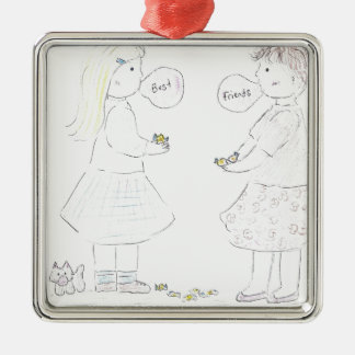 Best Friends Girls Silver-Colored Square Decoration