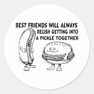 Best Friends Hamburger & Hotdog Trouble Classic Round Sticker