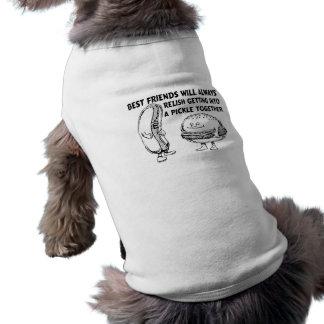 Best Friends Hamburger & Hotdog Trouble Sleeveless Dog Shirt