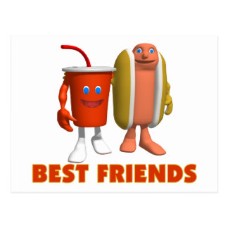 Best Friends Hot Dog & Soda Postcard