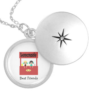Best Friends Lemonade stand Round Locket Necklace