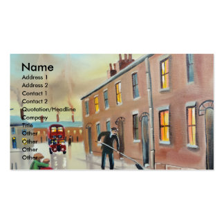 Best friends nostalgic street scene painting pack of standard business cards