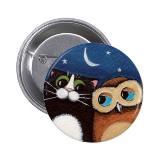 Best Friends - Owl and Cat Art Button
