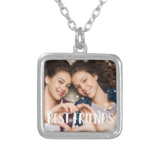 Best Friends Photo Silver Plated Necklace