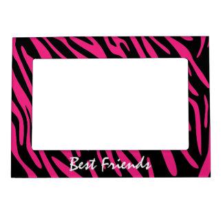 Best Friends Pink Zebra Stripes Magnet Photo Frame