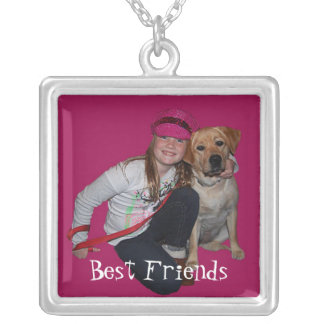 Best Friends-Pretty Girl & Puppy Silver Plated Necklace
