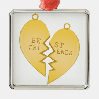 Best Friends Silver-Colored Square Decoration