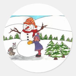 Best Friends Winter Wonderland Classic Round Sticker