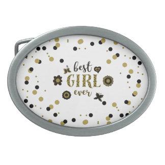 Best Girl Ever Dots Golden Black Spring Boho Chic Belt Buckle