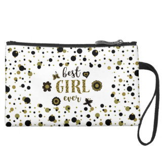 Best Girl Ever Dots Golden Black Spring Boho Chic Suede Wristlet