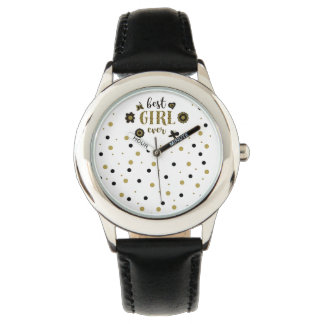 Best Girl Ever Dots Golden Black Spring Boho Chic Watch