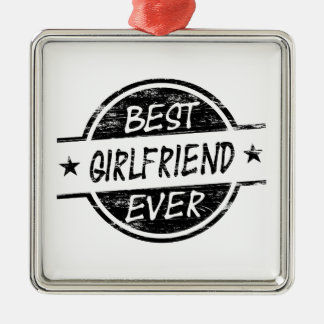 Best Girlfriend Ever Black Silver-Colored Square Decoration