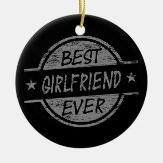Best Girlfriend Ever Gray Round Ceramic Decoration