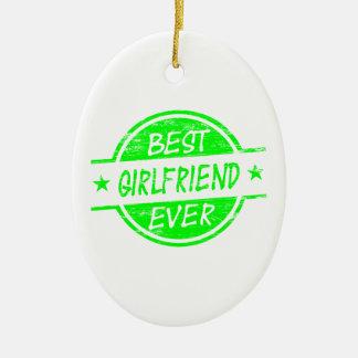 Best Girlfriend Ever Green Ceramic Oval Decoration