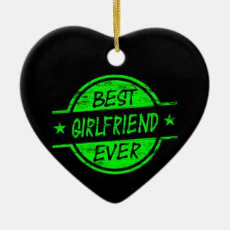 Best Girlfriend Ever Green Ceramic Heart Decoration