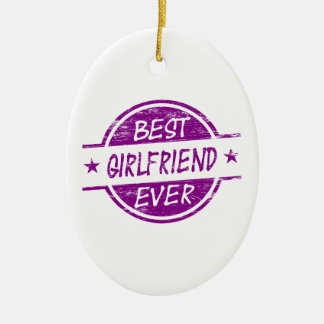 Best Girlfriend Ever Purple Double-Sided Oval Ceramic Christmas Ornament