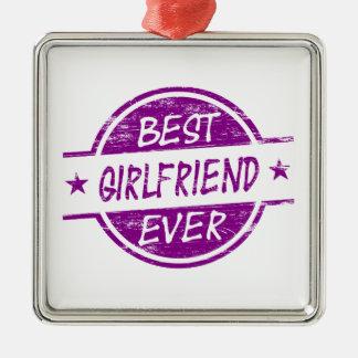 Best Girlfriend Ever Purple Silver-Colored Square Decoration