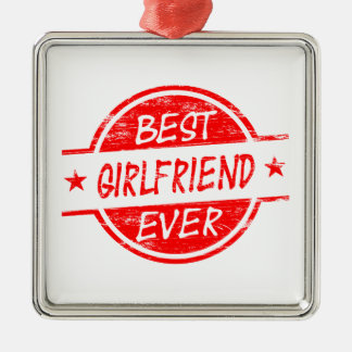 Best Girlfriend Ever Red Silver-Colored Square Decoration