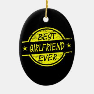 Best Girlfriend Ever Yellow Ceramic Oval Decoration