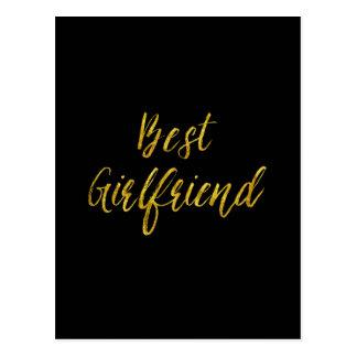 Best Girlfriend Gold Faux Glitter Metallic Sequins Postcard