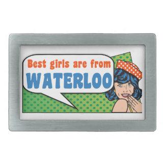 Best girls are from Waterloo Rectangular Belt Buckle