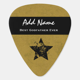 Best Godfather Ever Gold and Black Ribbon A04 Guitar Pick