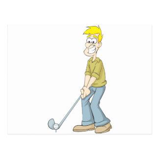 Best Golfer Dad Putting a Golf Ball Cartoon Postcard