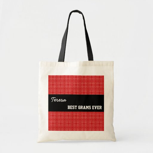 Best Grams Ever Custom Name Red Squares 002 Bags