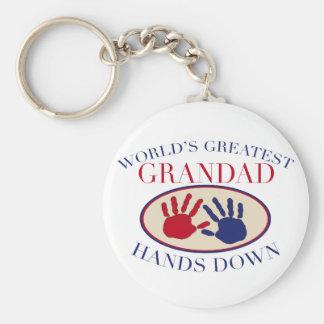 Best    Grandad Hands Down Basic Round Button Key Ring