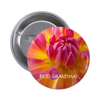 BEST GRANDMA Button Pink Yellow Dahlia Flower