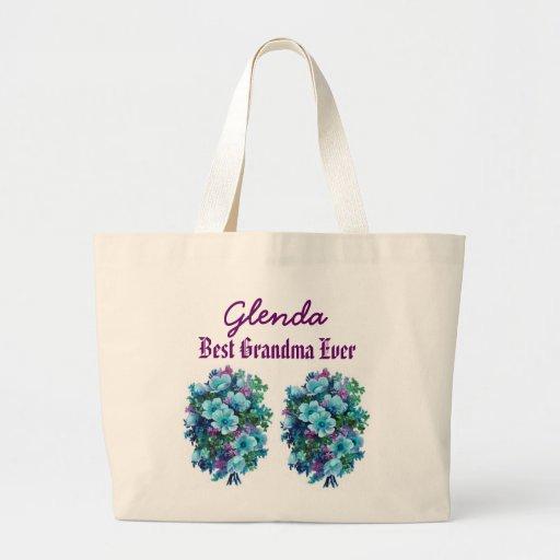Best Grandma Ever Custom Name Blue Flowers Ver1 Tote Bag