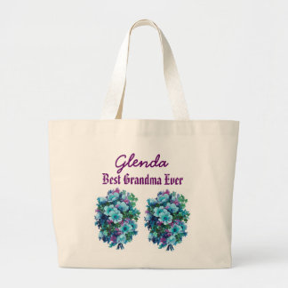 Best Grandma Ever Custom Name Blue Flowers Ver1 Jumbo Tote Bag