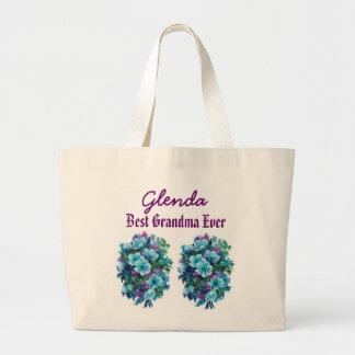 Best Grandma Ever Custom Name Blue Flowers Ver1 Jumbo Tote Bag