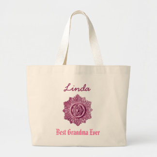 Best Grandma Ever Custom Name Pink Tote Bags